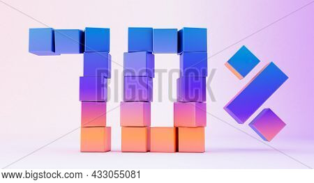 Colorful Boxes Forming The Number Seventy Isolated On White Background, 3d Render