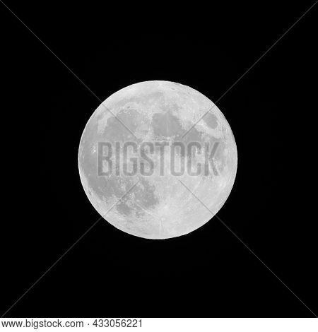 Big White Moon On The Black Sky At Midnight