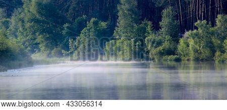Morning Sunrise Over The River. Fog Over The River At Dawn. Summer Landscape