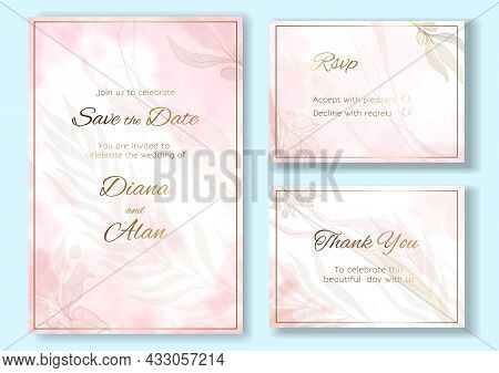 Wedding Floral Invitation Watercolor And Pastel. Save The Date, Thanks. Rsvp Card Design. Golden Del