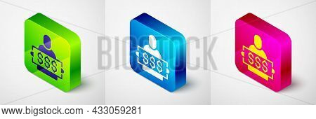 Isometric Fortune Lottery Win Composition With Lucky Winner Holding Prize Ticket Icon Isolated On Gr