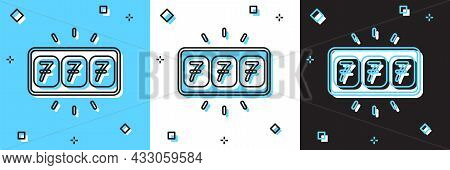 Set Slot Machine With Lucky Sevens Jackpot Icon Isolated On Blue And White, Black Background. Vector