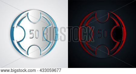 Paper Cut Casino Chips Icon Isolated On Grey And Black Background. Casino Gambling. Paper Art Style.