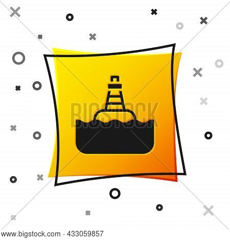 Black Floating Buoy On The Sea Icon Isolated On White Background. Yellow Square Button. Vector
