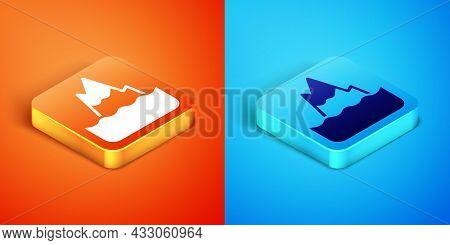 Isometric Iceberg Icon Isolated On Orange And Blue Background. Vector