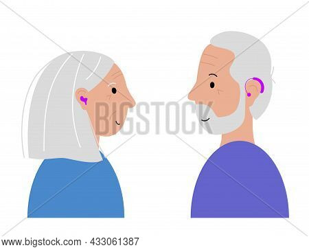 Human Hearing Aid Icon. Elderly Man And Woman Are Happy To Hear With Hearing Device. Ear Sound Recei