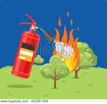 A Fire Extinguisher Extinguishes A Forest Fire. Fire Safety. Flat Vector Illustration.