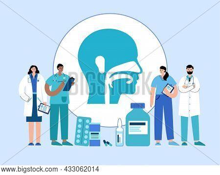 Ear Nose Throat Doctor. Otolaryngology Medical Center. Otolaryngologist In Clinic. Deafness Examinat