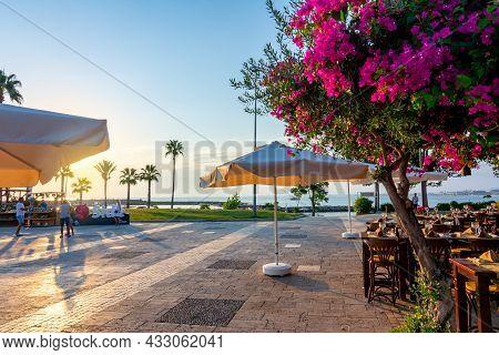 Side, Turkey - September 2021: Sea Promenade In Side At Sunset