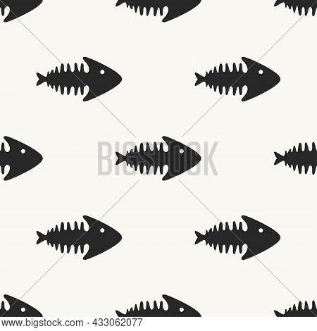 Fish Skeleton Icon, Seamless Pattern On White Background. Fish Bone Cartoon Seamless Background. Vec