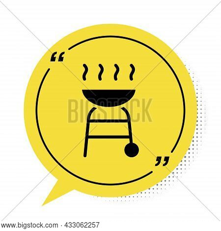Black Barbecue Grill Icon Isolated On White Background. Bbq Grill Party. Yellow Speech Bubble Symbol