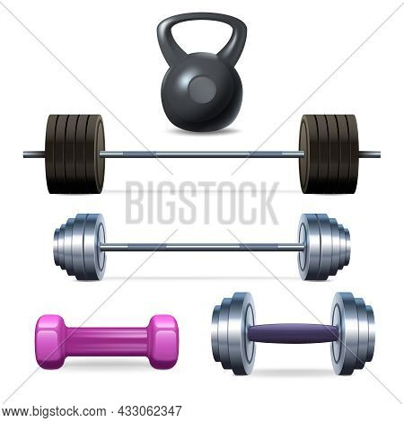Dumbbells Barbells And Weight Fitness And Bodybuilding Equipment Realistic Icons Set Isolated Vector