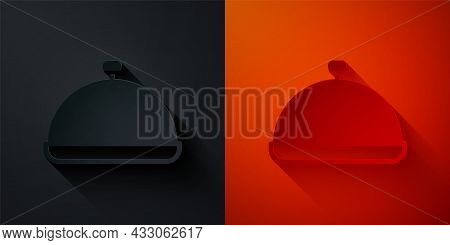 Paper Cut Covered With A Tray Of Food Icon Isolated On Black And Red Background. Tray And Lid Sign.