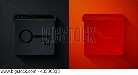 Paper Cut Secure Your Site With Https, Ssl Icon Isolated On Black And Red Background. Internet Commu