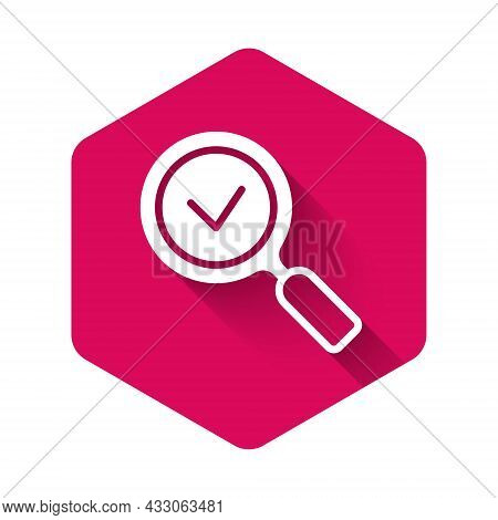 White Magnifying Glass With Check Mark Icon Isolated With Long Shadow Background. Search, Focus, Zoo