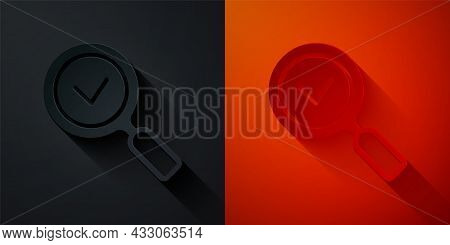 Paper Cut Magnifying Glass With Check Mark Icon Isolated On Black And Red Background. Search, Focus,