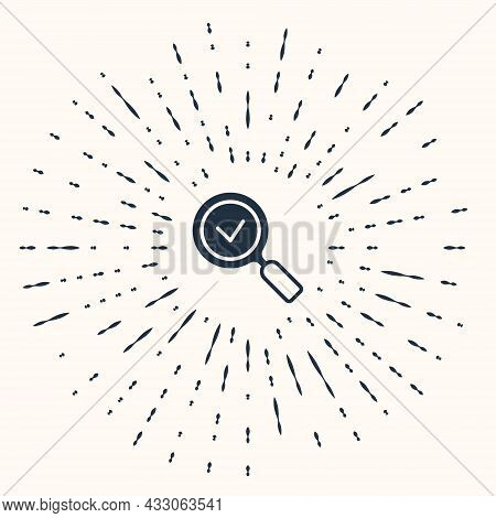 Grey Magnifying Glass With Check Mark Icon Isolated On Beige Background. Search, Focus, Zoom, Busine