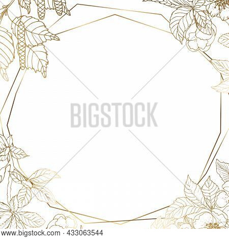 Golden Six-cornered Frame With A Branch Of Cherry And Birch. Golden Leaves Of Birch And Cherry Flowe