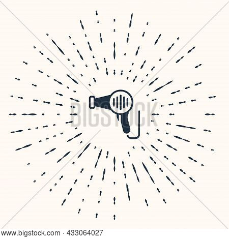 Grey Hair Dryer Icon Isolated On Beige Background. Hairdryer Sign. Hair Drying Symbol. Blowing Hot A