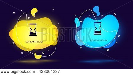 Black Old Hourglass With Flowing Sand Icon Isolated On Black Background. Sand Clock Sign. Business A