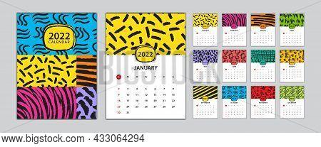 Desk Calendar 2022 Template Set, Calendar Design Memphis Style, Wall Calendar 2022 Design, Poster, M