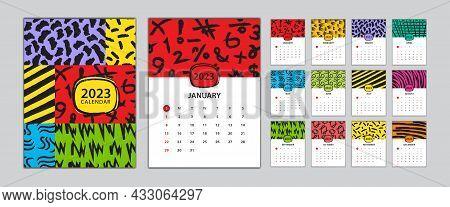 Desk Calendar 2023 Template Set, Calendar Design Memphis Style, Wall Calendar 2023 Design, Poster, M