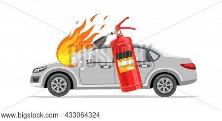 The Fire Extinguisher Extinguishes The Car. Burning Car. Flat Vector Illustration.