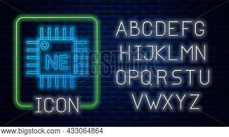 Glowing Neon Computer Processor With Microcircuits Cpu Icon Isolated On Brick Wall Background. Chip