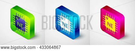 Isometric Computer Processor With Microcircuits Cpu Icon Isolated On Grey Background. Chip Or Cpu Wi