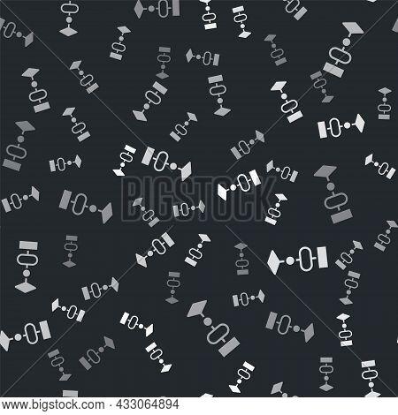 Grey Algorithm Icon Isolated Seamless Pattern On Black Background. Algorithm Symbol Design From Arti