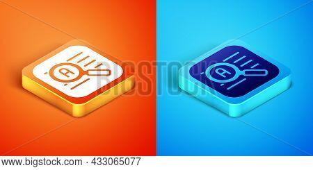 Isometric Translator Icon Isolated On Orange And Blue Background. Foreign Language Conversation Icon
