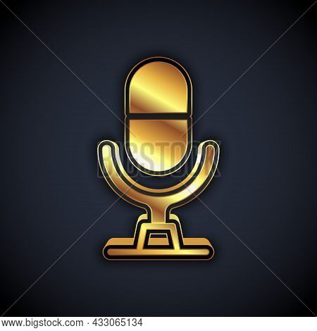 Gold Microphone Voice Device Icon Isolated On Black Background. Microphone Interpreter And Alphabet