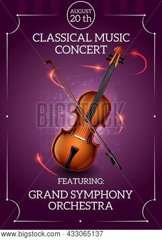 Classic Music Concert Poster With Violin And Bow Vector Illustration
