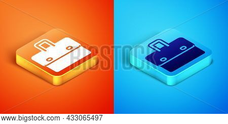 Isometric Briefcase Icon Isolated On Orange And Blue Background. Business Case Sign. Business Portfo