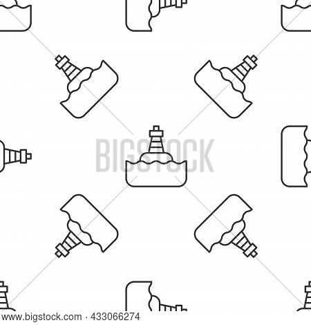 Grey Line Floating Buoy On The Sea Icon Isolated Seamless Pattern On White Background. Vector