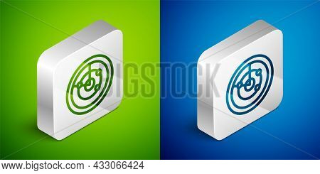 Isometric Line Radar With Targets On Monitor In Searching Icon Isolated On Green And Blue Background