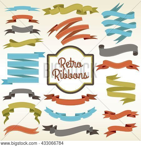 Retro Ribbons Trims Cuttings Curled Pieces Arrangement Composition Notions Store Nostalgic Advertise