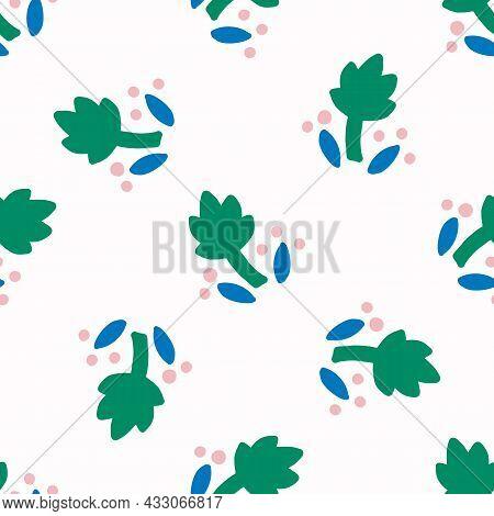 Playful Fresh Doodle Floral Shape Seamless Background. Modern Trendy Minimal Retro Style Motif Patte