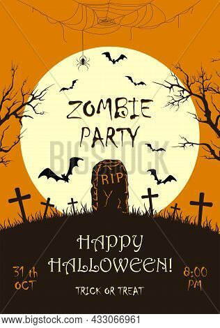 Lettering Zombie Party On Orange Halloween Background With Silhouette Of  Gravestone And Big Moon. B