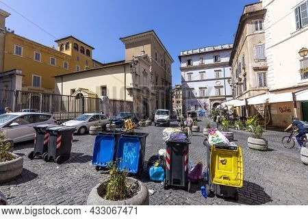 Rome, Italy - August 3, 2021: Garbage Cans Separatet In Yellow, Reusable, Blue - Paper And Grey - Ho