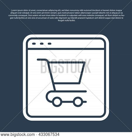 Blue Line Online Shopping On Screen Icon Isolated On Blue Background. Concept E-commerce, E-business