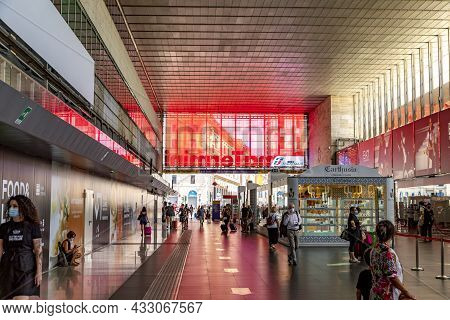Rome, Italy - August 6, 2021: View To Roma Termini In Rome. It Is The Largest Train Station In Rome,