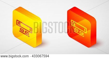 Isometric Line Search Engine Icon Isolated On Grey Background. Yellow And Orange Square Button. Vect