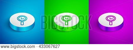Isometric Line Magnifying Glass With Check Mark Icon Isolated On Blue, Green And Purple Background.