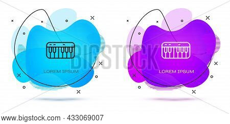 Line Music Synthesizer Icon Isolated On White Background. Electronic Piano. Abstract Banner With Liq