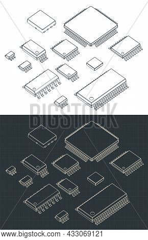 Stylized Vector Illustrations Of Isometric Blueprints Of Integrated Circuits Packages For Surface Mo