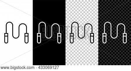 Set Line Jump Rope Icon Isolated On Black And White, Transparent Background. Skipping Rope. Sport Eq