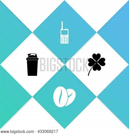 Set Fitness Shaker, Coffee Beans, Walkie Talkie And Four Leaf Clover Icon. Vector