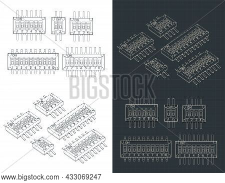 Stylized Vector Illustrations Of Blueprints Of Integrated Circuits Packages For Surface Mount