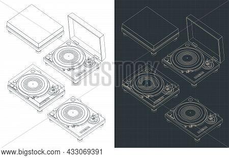 Turntable Vinyl Isometric Blueprints